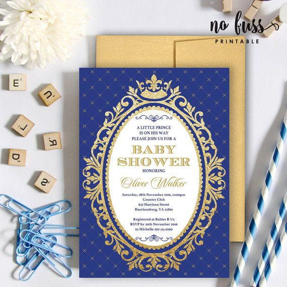 Royal Blue And Gold Prince Baby Shower By NoFussPrintable On Etsy