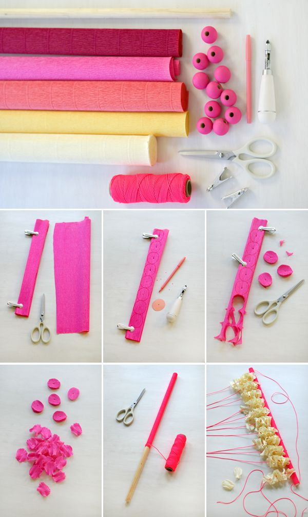 Really want to make this! Crepe Paper Petals Wall Hanging   Oh Happy Day!