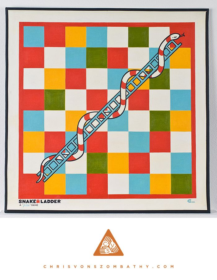 Snake & Ladder: a Futile Game (acrylic on board) by artist Chris von Szombathy.