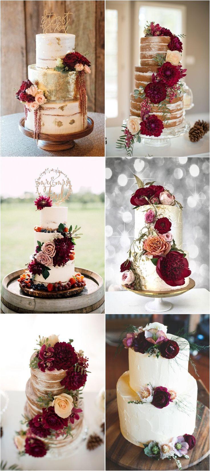 Burgunder Hochzeitstorte Idee #weddingcakes #red #wedding #weddingideas #fallweddin …   – Sweet