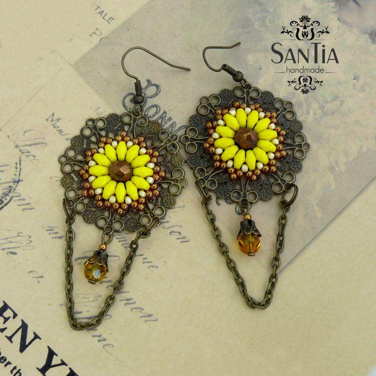 Kruhové náušnice žlto-bronzové mandalové :http://santiahandmade.com/produkt/kruhove-nausnice-zlto-bronzove-mandalove/