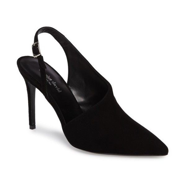 Women's Charles David Sass Asymmetrical Slingback Pump (9,440 DOP) ❤ liked on Polyvore featuring shoes, pumps, black suede, high heel stilettos, sling back pumps, black stiletto pumps, black slingback pumps and suede pumps