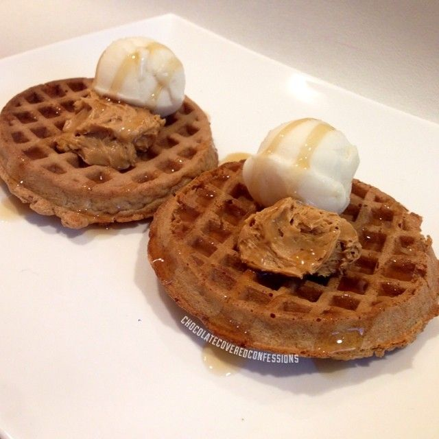 Whole wheat waffles topped with Vanilla Maple Arctic Zero and some Jif ...
