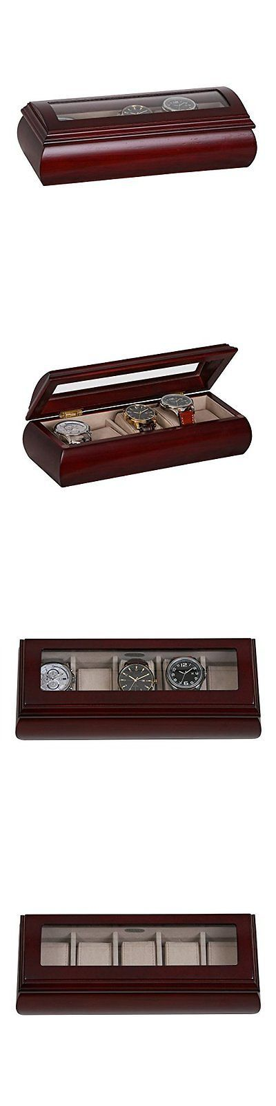 Parts and Accessories 51021: Mele And Co. Emery Glass Top Wooden Watch Box (5 Sections, Cherry Finish...New BUY IT NOW ONLY: $50.25