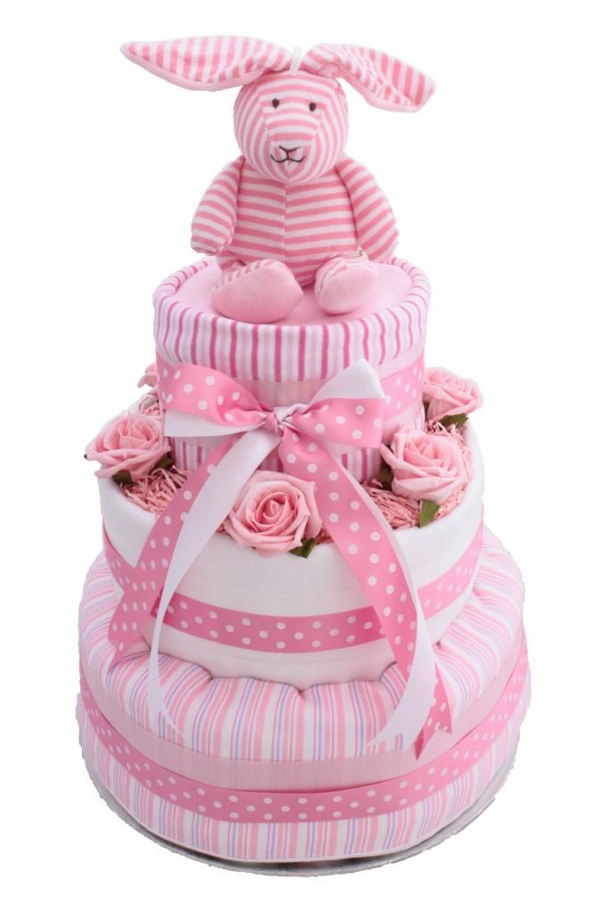 NEW Pink 3 Tier Spots & Stripes Nappy Cake - Premium Brand Nappies Luxury cotton blanket with stripes and cute animal logo A Large Cotton Muslin Cloth 2 x Soft Cotton Burp Cloths A colour co-ordinating baby brush and comb set A colour co-ordinating cotton sleepsuit A gorgeous stripy soft organic cotton rabbit toy. 6 realistic colour co-ordinating foam roses