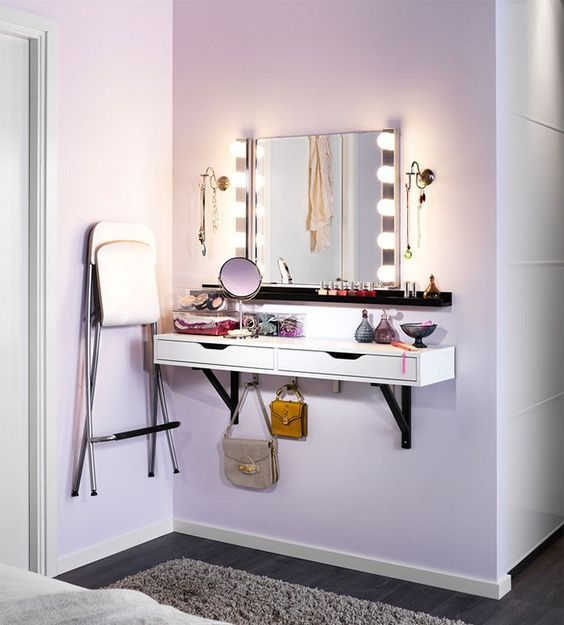 Attractive DIY Makeup Vanity Brilliant Setup For Your Room Part 17