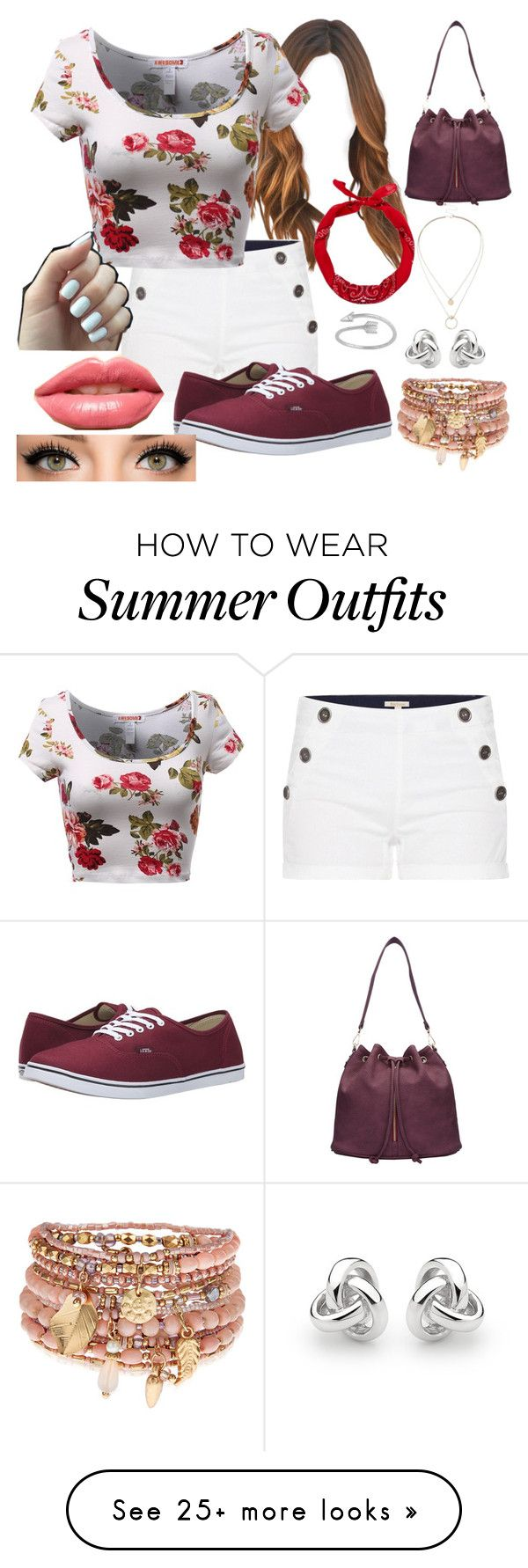 """random floral and maroon summer outfit"" by cass-mccullough on Polyvore featuring Barbour, Vans, LASplash, Accessorize, Georgini, Sole Society, women's clothing, women, female and woman"