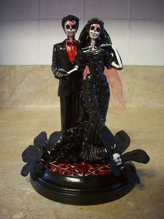rockabilly wedding cake topper | SALE ... Day of the Dead Wedding cake sugar skull flowers topper Red ...