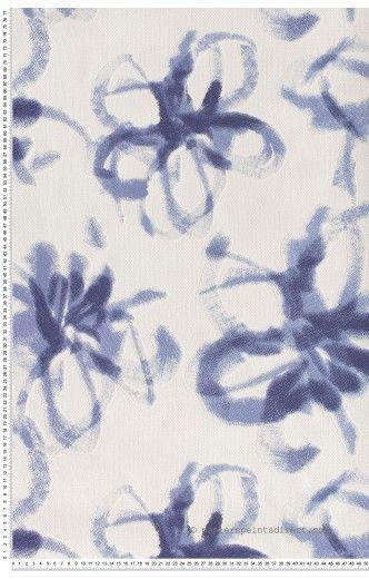 grandes fleurs bleues peintes papier peint esprit 9 de. Black Bedroom Furniture Sets. Home Design Ideas
