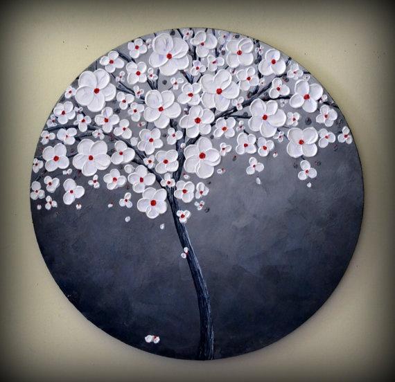 Delicado Árbol Blanco Rojo y Negro. Art Modern                                                                                                                                                                                 Más