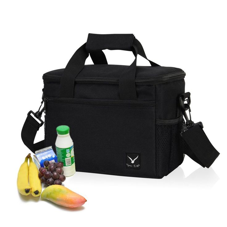 Lunch Cooler Bag 10-Can Insulated Lunch Bag Removable Strap Lightweight, Black #HynesEagle