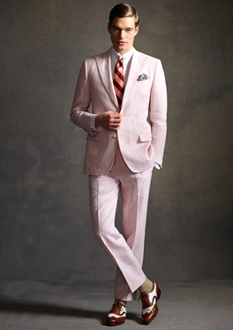 I know that almost everyone has pinned this but I just couldn't resist pinning it too. Brooks Brothers Pink Linen Suit-Brooks Brothers/The Great Gatsby Collection