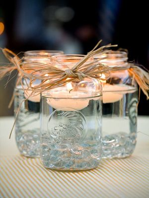 Centerpiece IdeasIdeas, Floating Candles, Teas Lights, Mason Jar Centerpieces, Mason Jars Centerpieces, Mason Jar Candles, Mason Jars Candles, Tea Lights, Center Pieces