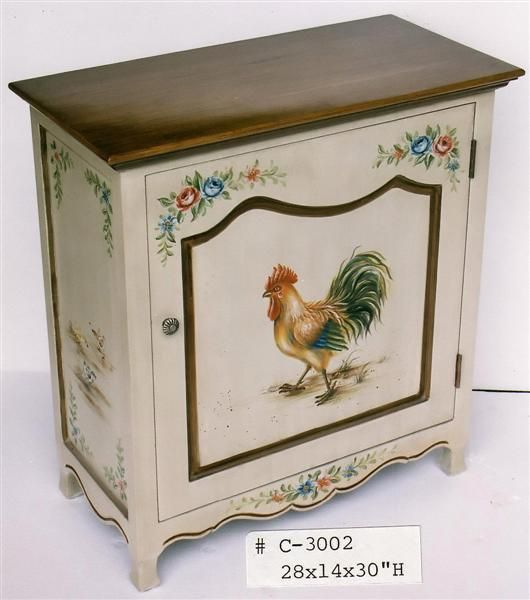 Hand Painted Rooster Cabinet