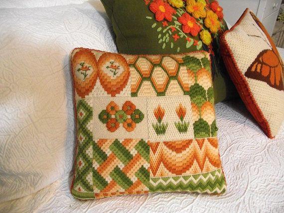 Vintage Needlepoint Retro floral graphic needlepoint pillow Orange green brown…