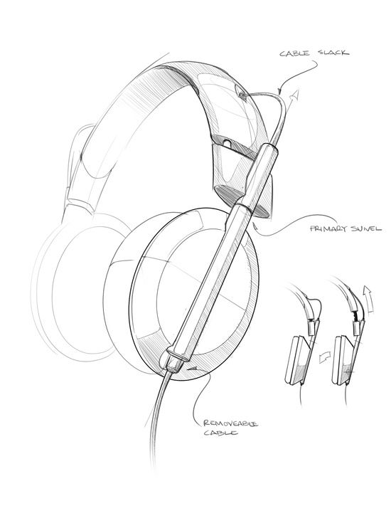 Headphone industrial design sketch