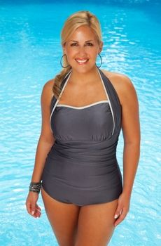 Women's Plus Size Swimwear -  oooo i really like this. but i would really love it in pink hehe