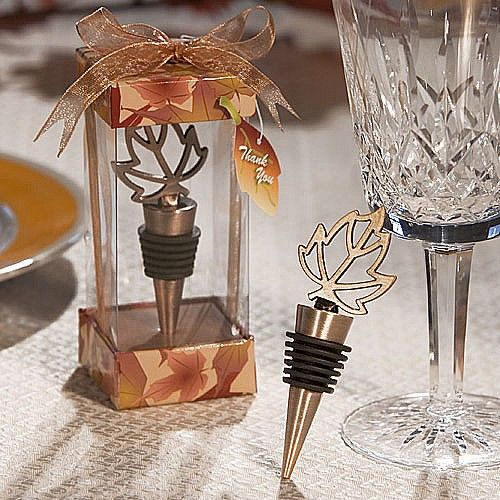 Bronze metal wine bottle stoppers with leaf design handles will be the