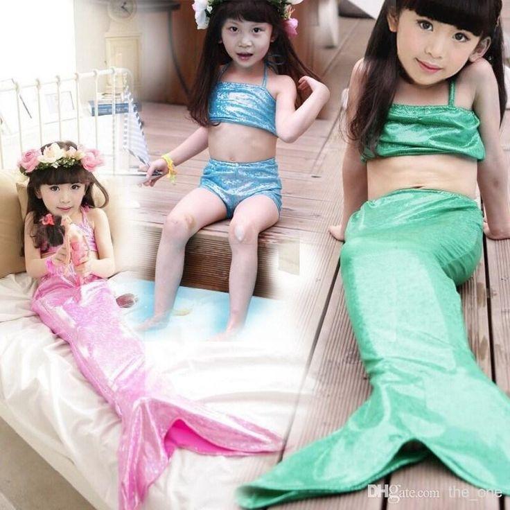 maillot de bain bikini girls costume de sirène avec la queue de sirène maillot de bain 3 pièces mermaid conçoit bébé