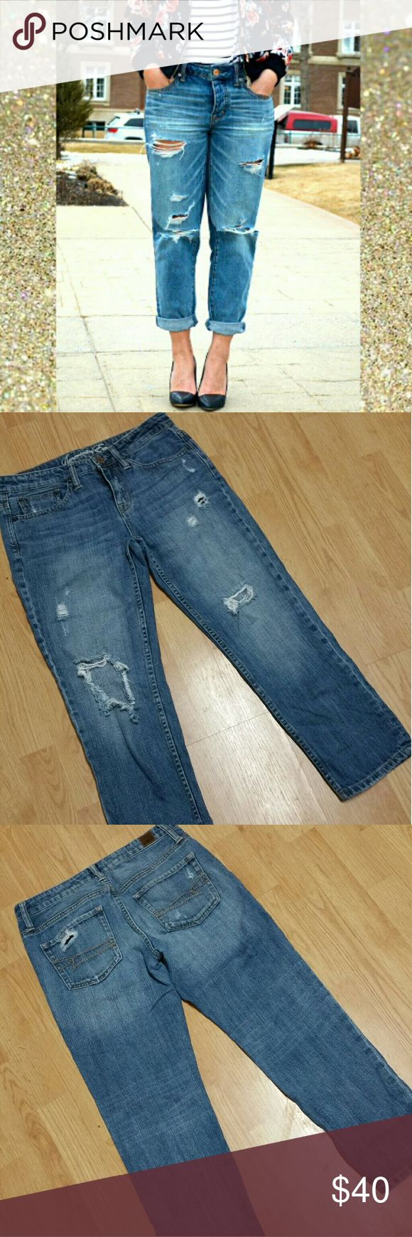 AEO Cropped Distressed Jeans Gently worn, super adorable and closer to a boyfriend fit so they run a little big. Says regular but close to 25inc. inseam approx. can get exact measurements if needed. American Eagle Outfitters Jeans Ankle & Cropped