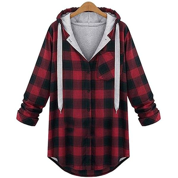 Ann Market Women's Plus Size Plaid Jacket Coat with Hood ($30) ❤ liked on Polyvore featuring outerwear, coats, plus size hooded coat, plus size coats, plaid coat, hooded coat and womens plus coats