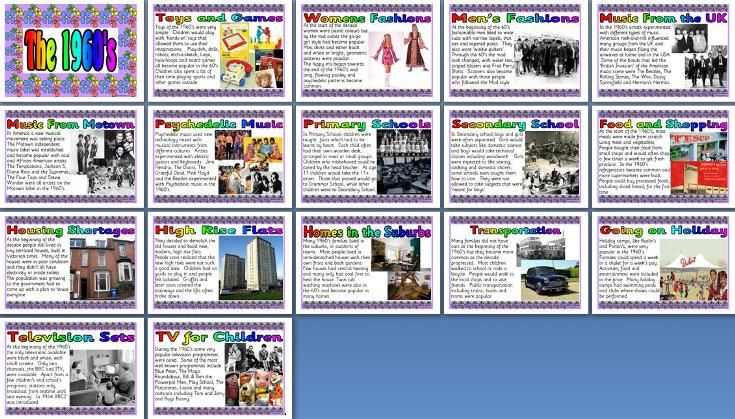 History teaching resource - Living in the UK in the 1960's. Create an instant 1960's display about fashion, school, homes, music and more f...