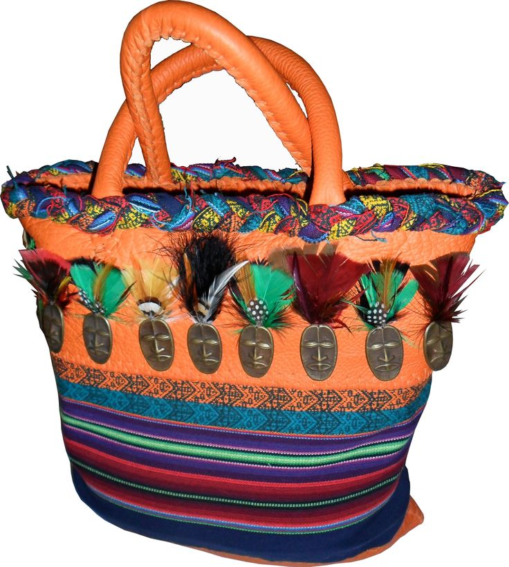 S.Africa handmade tote, Leather and Cotton fabric.
