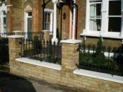 Victorian front garden design Lewisham, London - new front wall and piers with bespoke case iron railings