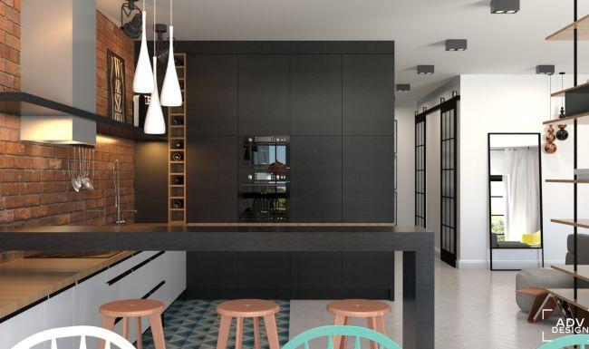 www.advdesign.pl 87m2_6 kitchen purpura floor tiles copper loft brick