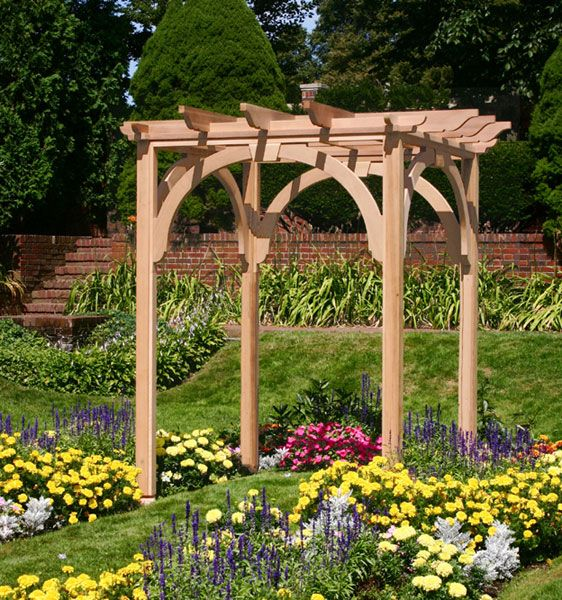 Small pergola idea for top of retaining wall stairs