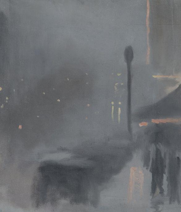 Clarice Beckett, Taxi Rank, 1931, oil on canvas on board, 58.5 x 51.0 cm