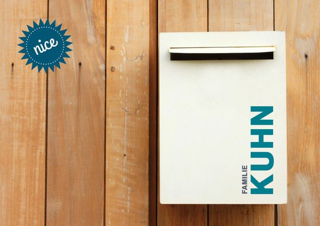 Tür- & Namensschilder - Briefkasten Tür Schild Aufkleber ♥ Name - ein Designerstück von hellographic bei DaWanda
