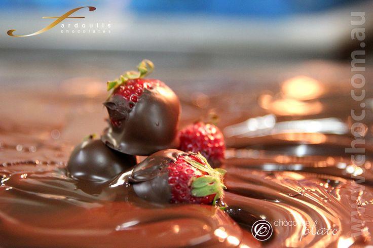 Hand dipped chocolate strawberries in dark chocolate  www.choc.com.au