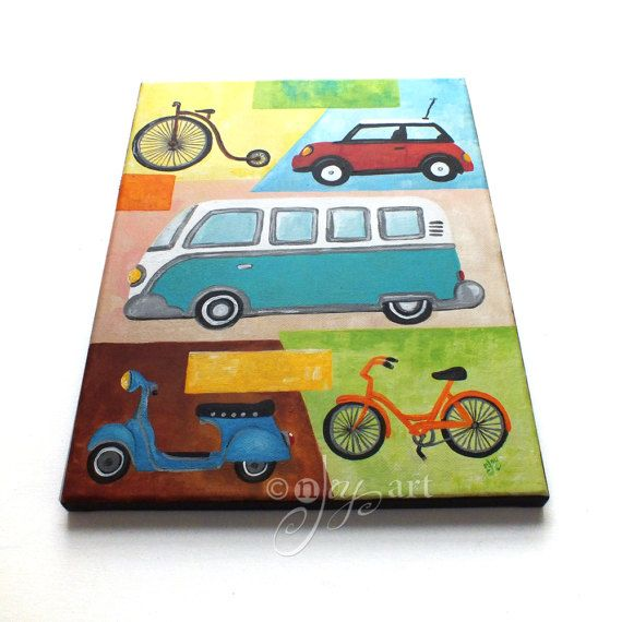 Vintage Transportation painting Car and Bike themed art by nJoyArt