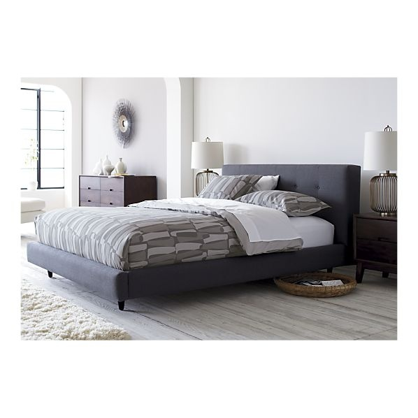 tate tall upholstered queen bed | charcoal color, charcoal and