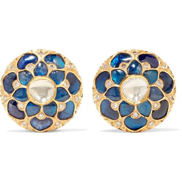 Amrapali 18-karat gold multi-stone earrings (22.115 BRL) ❤ liked on Polyvore featuring jewelry, earrings, joias, gold, amrapali jewellery, flower jewelry, drusy earrings, clasp earrings and drusy jewelry