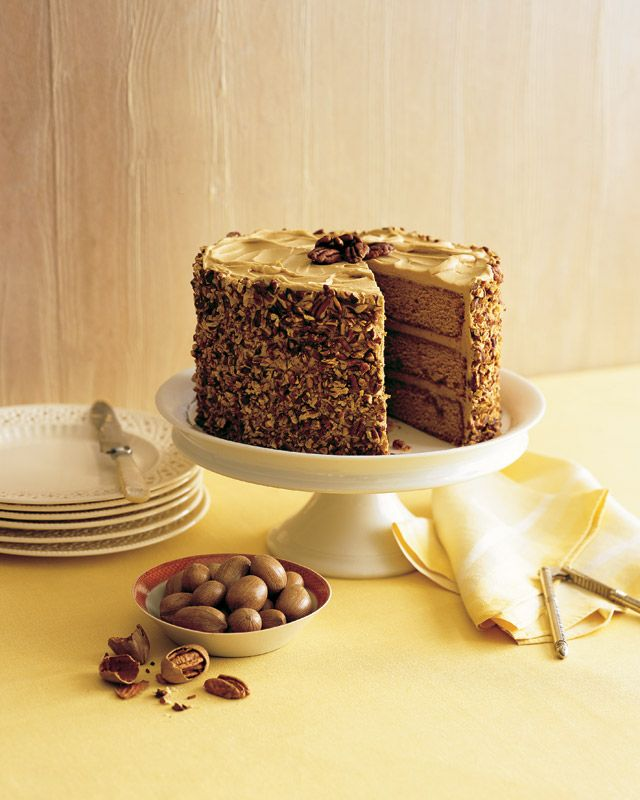 Butterscotch-Pecan Cake: This statuesque cake hides a sweet secret underneath its pecan sheath: brown-butter frosting and butterscotch-soaked layers spiked with rum, both of which make familiar flavors seem sophisticated.