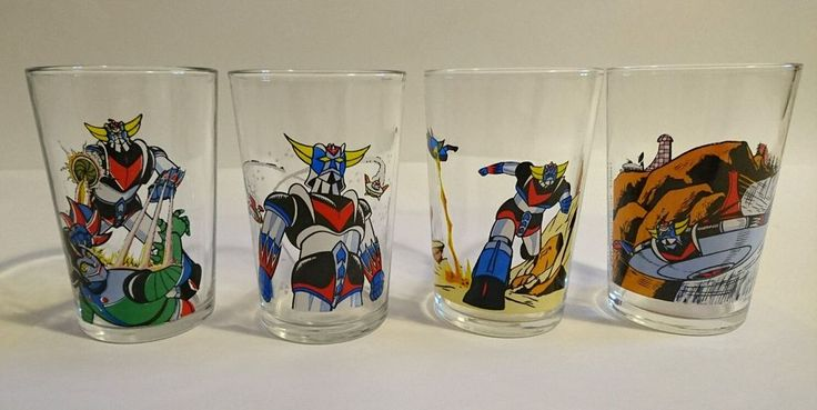 LOT 4 Anciens VERRES GOLDORAK Moutarde -TOEI Antenne 2/ REIMS-FRANCE- VINTAGE BD