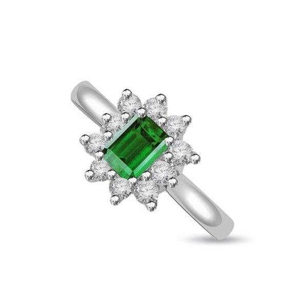 ANELLO CLUSTER CON DIAMANTE 18CT ORO BIANCO | Anello Cluster. Il totale carati per questo anello e` 0.35ct. Lo smeraldo e i diamanti taglio brillante sono montati in un incastonaturta a griffe in 18ct oro bianco. I diamanti sono G colore e SI1 purezza. La testa dell`anello e` 10.90mm x 9.7mm. Il gambo dell`anello e` 2.60mm. L`anello e` accompagnato dal certificato del diamante.