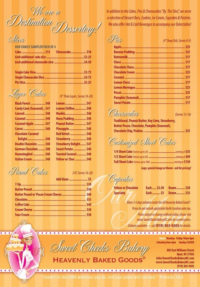 Online Order Menu For Homemade Cakes - Pies - Sheet Cakes - Desserts | Raleigh - Durham - Cary - Chapel Hill NC - Sweet Cheeks Bakery
