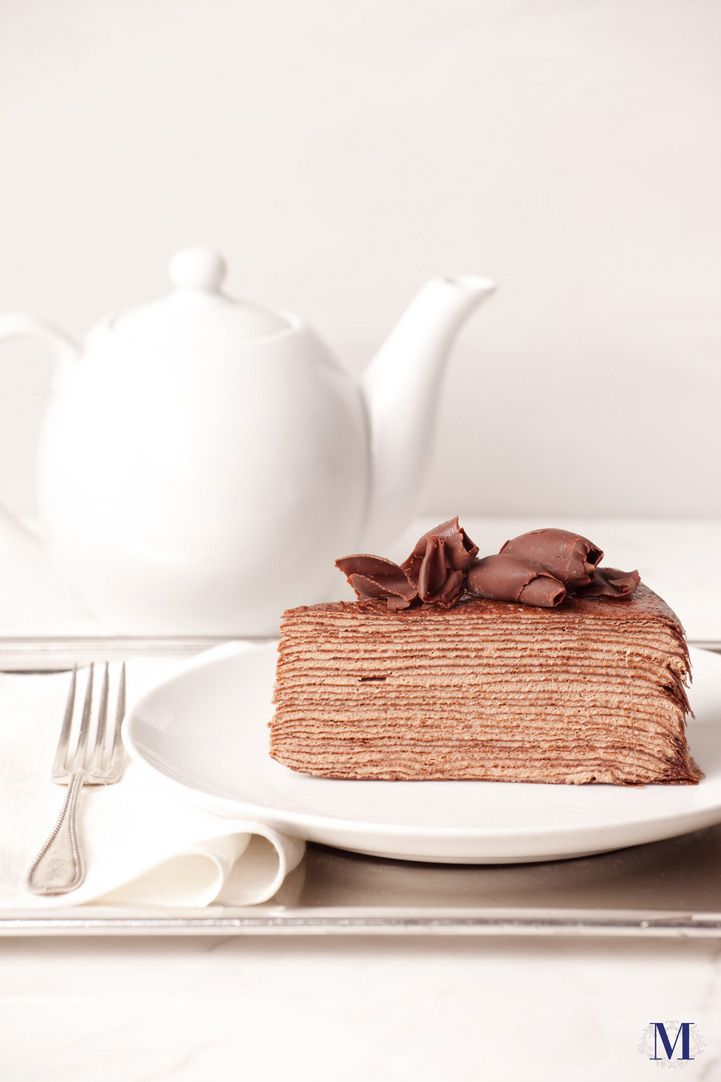 Lady M® Chocolate Mille Crêpes Count and you'll find no less than twenty paper-thin handmade chocolate crêpes, each one rich in cocoa and complete with lacy edges. Layers are alternated with chocolate pastry cream and a delicate caramelized surface.
