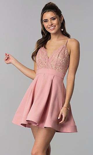 2ab030a7055 Lace-Bodice Short Homecoming Dress in Mauve Pink in 2019