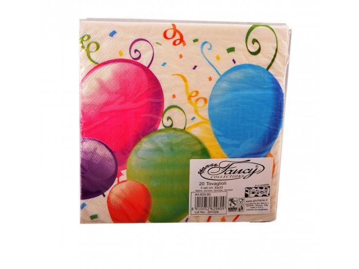 Tovaglioli di carta decorati per feste Balloons della Givi Italia