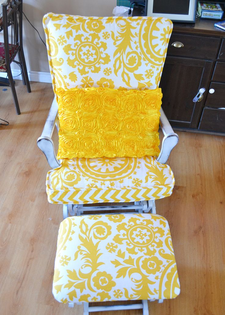 Update a Nursery Glider Rocking Chair | The DIY Mommy i definitely would like to do this to my glider (different pattern) but same idea :)