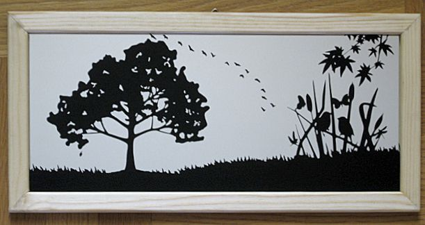 At countryside, Blasted on the mirror back and painted.