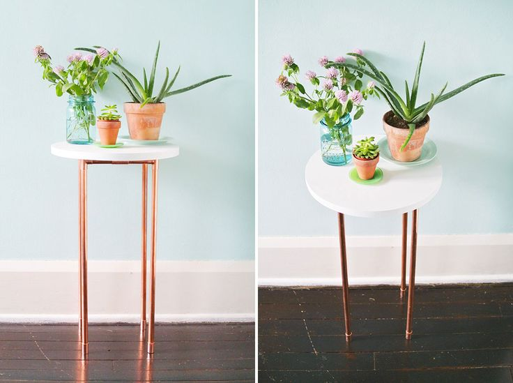 This DIY Copper Pipe Side Table is Perfect for Small Spaces via Brit + Co.