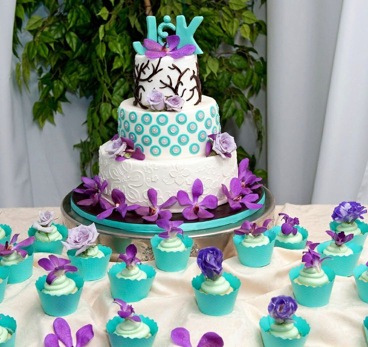 Purple And Turquoise Cake