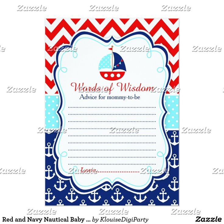 Red and Navy Nautical Baby Shower Words of Wisdom Card