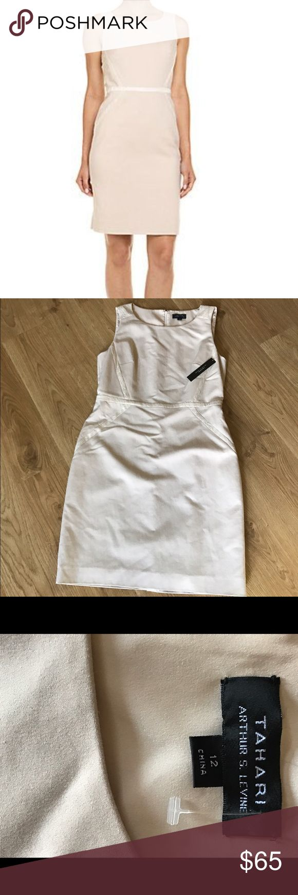 Tahari cream color dress Beautiful NWT TAHARI creamsoda dress size 12. This an adorable size 12 with lace accents and zipper back. From smoke free home. Tahari Dresses