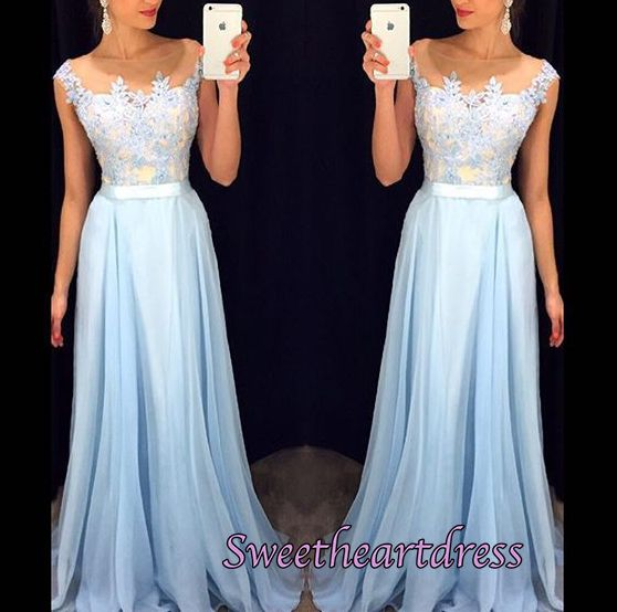 Cute ice blue chiffon long prom dress with lace applique, ball gown, modest prom dress 2016 #coniefox #2016prom